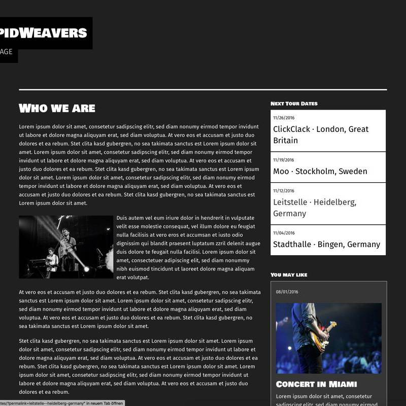 The Band Info Page